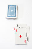 Poker aces on the white background Stock Photos