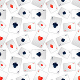Poker aces on white, seamless pattern Royalty Free Stock Photos