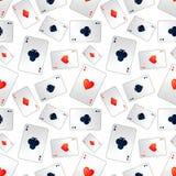 Poker aces on white, seamless pattern Royalty Free Stock Photos