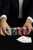Poker. All in. Poker of aces, and chips of a cards game set Royalty Free Stock Photos