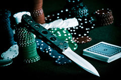 Poker And Knife Stock Photos