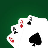 Poker background. Green background with four aces playing cards.EPS file available Royalty Free Stock Photography