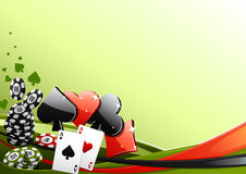 Poker background. Green poker background with items for playing poker Stock Photo