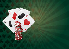 Poker background. Illustration of aces poker with  colorful chips casino Royalty Free Stock Image
