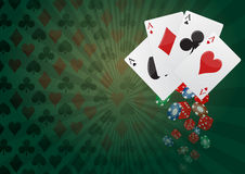 Poker background. Illustration of aces poker with colorful chips casino Stock Images