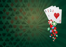 Poker background. Illustration of aces poker with colorful chips casino Stock Photos