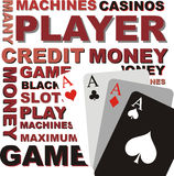 Poker background, vector graphics. Background, text and cards, vector graphics Stock Photos
