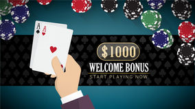 Poker banner with aces. Poker online banner with hand holding two aces and chips all around Royalty Free Stock Images