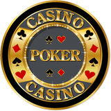 Poker banner. With golden elements and brilliants stock illustration