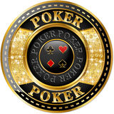 Poker banner. With golden elements and brilliants royalty free illustration