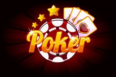 Poker banner with Icon Playing Cards and Chip. Vector symbols casino. Illustration for casino, slots and game UI. Objects on a separate layer vector illustration