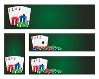 Poker banners. Set of poker banner with cards ans chips Stock Photo