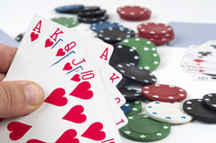 Poker and betting. Poker cards, games and betting and casinos chips Stock Image
