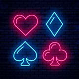 Poker, blackjack card suits. Vector neon icons. Poker, blackjack card suits vector illustration