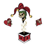 Poker Box Joker Zombie. Vector fantasy illustration of a laughing angry joker vampire zombie skull wearing a clown hat with three gold bells popping out of a Royalty Free Stock Photos