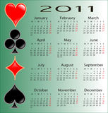 Poker calendar for 2011. This is a calendar for 2011 on a green poker symbols background Royalty Free Stock Image
