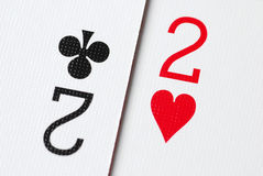 Poker Card 2. Macro poker card two background Royalty Free Stock Photo