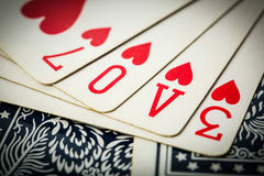 Poker card game arrange love text Royalty Free Stock Photo