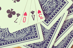 Poker card game arrange love text Royalty Free Stock Photography