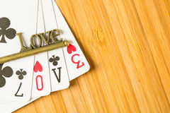 Poker card game arrange love text Royalty Free Stock Image