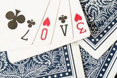 Poker card game arrange love text Stock Images