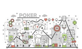 Poker card game concept vector flat line art illustration. Poker card game concept vector illustration. Modern thin line art flat style design element with Stock Image