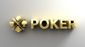 Poker card game - gold 3D quality render on the wall background Stock Photography
