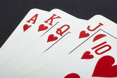 Poker card game with heart straight flush. Red Stock Images