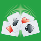 Poker card on green. Background Stock Photo