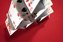 Poker card house. House made of poker cards Stock Photo