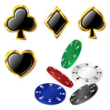 Poker card icon and chip set Stock Photography