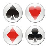 Poker card icons on white Stock Photography