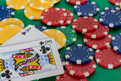 Poker card. And lot of chips Royalty Free Stock Image