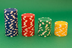 Poker card. And lot of chips Royalty Free Stock Photos