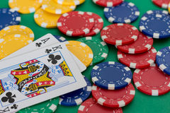 Poker card. And lot of chips Royalty Free Stock Images