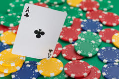 Poker card. And lot of chips Stock Images