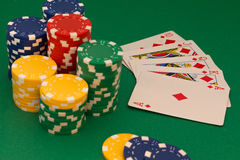 Poker card. And lot of chips Stock Photo