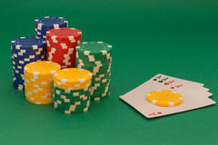 Poker card. And lot of chips Stock Image