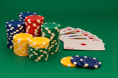 Poker card. And lot of chips Royalty Free Stock Photo