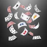 Poker card spade scattered. Vector illustration of Poker card spade scattered Royalty Free Stock Photo