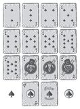 Poker card spade set cartoon Royalty Free Stock Photos