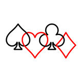 Poker card suits - hearts, clubs, spades and diamonds - on white background. Casino gambling theme vector illustration vector illustration
