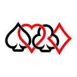 Poker card suits - hearts, clubs, spades and diamonds. On white background. Casino gambling theme vector illustration. Black and red outline shapes partly Royalty Free Stock Photography