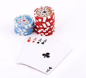 Poker cards. Close-up view of the poker cards Stock Images