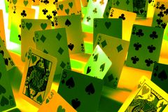 Poker cards. With green and yellow light fx Royalty Free Stock Image