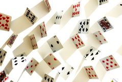 Poker cards. From above with long shadows Royalty Free Stock Photos