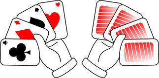 Poker cards. Two hands holding poker cards Stock Image