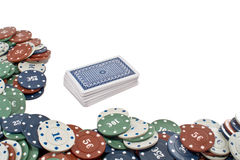 Poker Cards. A deck of cards and some Poker chips Stock Images