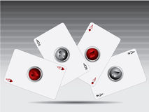 Poker cards with 3d buttons Royalty Free Stock Photography