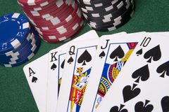 Poker cards. Playing poker cards and several casino chips spread on a green poker table Royalty Free Stock Photos